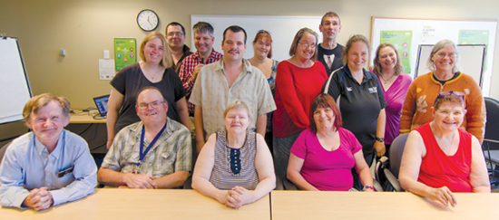front row, left to right: Cliff Stacey, Jerry Laidlaw, Penny Soderena-Sutton, Jo-Anne Gauthier, Maggie Litster. middle row, left to right: Tara Torme, Krystian Shaw, Michelle Goos, Sheenagh Morrison, Astrid Koenig. back row, left to right: David Johnston, Michael McLellan, Tricia Lins, Bryce Schaufelberger, Shelley DeCoste. not pictured: Shelley Marinus, Sandra Slind, Shawn Spear.