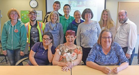standing, left to right: Tamara Russell (Parksville), Scott McGillan (Williams Lake), Sandra Slind (Vancouver), Bryce Schaufelberger (Mission), Alex Li (Vancouver), Astrid Koenig (Sooke), Robyn Appleton (Sooke), Jhenna Owen (Kamloops), John O'Neill (Nelson). seated, left to right: Roshni Kashyap (Port Coquitlam), Maggie Litster (Vernon), Michelle Goos (Victoria).