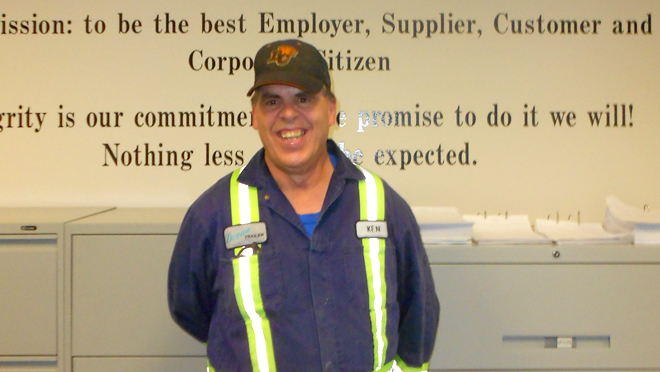 Ken has been working at inclusive employer Ocean Trailer for almost two years and has a variety of responsibilities around the office.