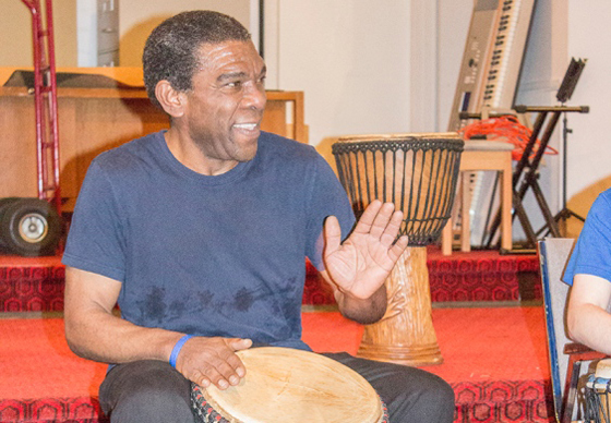 DRUMMING COMMUNITY: Inclusion Powell River community connector Chris Weekes was recognized by Community Living BC on Friday, March 4, for his work helping people to develop connections and inspiration through music.