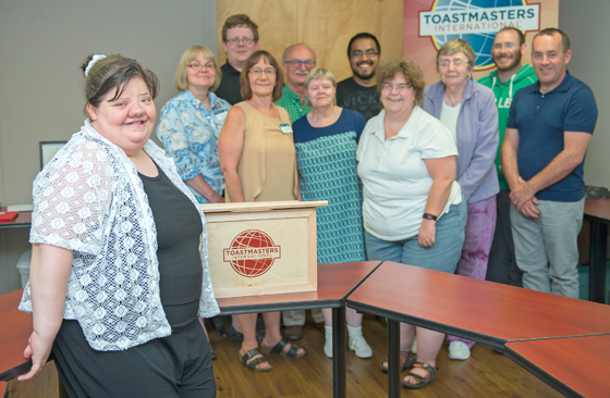 Ruth Stanton with her fellow members of the Prince George Toastmasters club. The club was originally started in August 1977, and is one of over 15,000 clubs around the world.