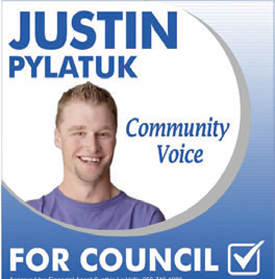 Justin's campaign poster during his run for Dawson Creek city council.