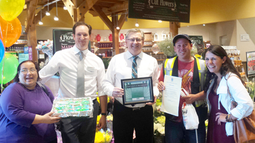 Safeway in Kamloops was held up as an inclusive employer in Kamloops. Pictured (from left to right) are: Kristine Blanchard, Self Advocate; Greg Frederick, Assistant Manager; Brendan, Store Manager; Ben Johnson, Self Advocate