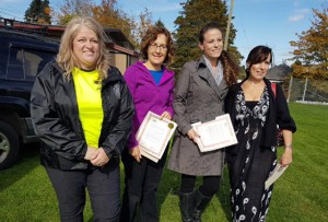 , left to right, Lynn Korsvall, Nanaimo Nissan, Anita Smith, Community Kitchens, Amber Mitchell, CLBC Intergrated Services Manager, and Susan Easter, Clay Tree Society. Lynn and Anita were both recipients of the CUICC's new recognition initiative.