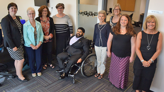 Connecting in Kamloops (left to right): Joanne Curry (CLBC Board Member), Marie Sabine (Surrey Delta White Rock Community Council Member), Edwina Jeffrey (Former Community Council Chair), Diane Friedman, Onkar Biring (CLBC Board Members), Alison Scholefield, Vicky Stratton, Sherry Adam (Community Council Members), and Jane Holland (CLBC Board Member).