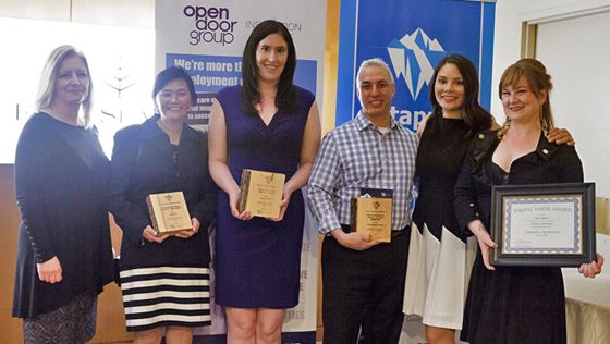 Tapping into inclusion: Alone Puehse, Executive Director of Corporate Development for Open Door Group (second from right) congratulates BC Workplace Inclusion Award winners (left to right) Tamara Vrooman, President & CEO of Vancity, Julia Tanaka, Co-owner of Jules Café, Arley Cruthers, Communications Manager of BC Wheelchair Basketball Society, Shaugn Schwartz, Manager of The Cleaning Solution, and Jenny Magenta, Performance Artist. (Not pictured: Jasmine Marchant, Director of Human Resources at Edgewater Casino).