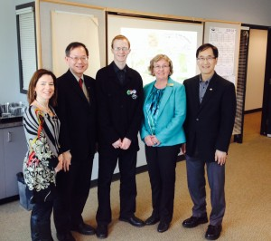 Selina Robinson (Coquitlam-Maillardville), Richard Lee (Burnaby North), Conrad Tyrkin (Communications Employment Intern), Kathy Corrigan (Burnaby-Deer Lake), and Dr. Doug Bing (Maple Ridge-Pitt Meadows)