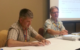 James helped co-ordinate for self-advocates Michael Mclellan (pictured, left) and Ryan Groth to attend and present at the Learning Community for Person-Centred Practice's annual Gathering conference in Portland, Oregon.